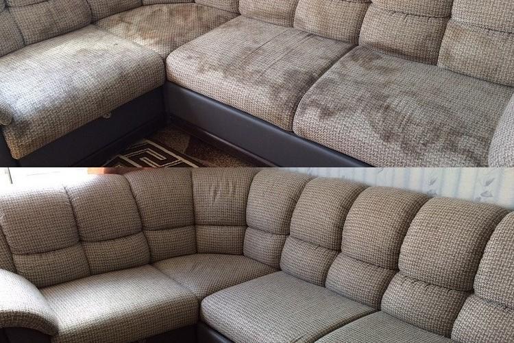 Химчистка дивана до/после